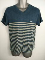 MENS HOLLISTER BLUE GREY NECK SHORT SLEEVE COTTON SHIRT TOP TSHIRT SIZE SMALL S