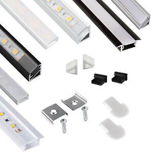 LED Alu Profil Aluprofil mit Abdeckung Set für LED Streifen Band Stripes Leiste