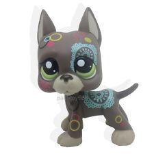 Littlest Pet Shop Tattoo Brown Chocolate Flowers Great Dane Dog Puppy LPS #1439