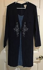 Fashion Bug Faux Jacket Over Blue Dress Long Sleeve W Embroidery Women's Sz 16