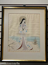 Japanese silk Holy Icon of Mary Mother of God blessings Christmas Snow painting