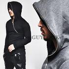 Avant Mod Built-in Warmer Asymmetric Full Zip-up Mens Knit Hood Tee By Guylook