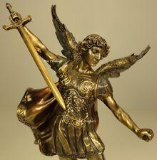 ST MICHAEL ARCHANGEL STABBING DEMON Figurine Statue Antique Bronze Finish