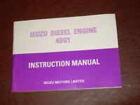 ISUZU DIESEL ENGINE INSTRUCTION OPERATION MAINTENANCE MANUAL 4BG1