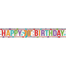 Happy 70th Birthday Banner Party Decoration Age 70 Bunting Shiny Holographic