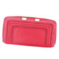 Chloe Wallet Purse Long Wallet Red Gold Woman Authentic Used P645