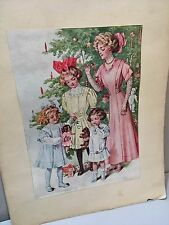 Vtg  Christmas Tree Art Fashion Print 1910's Steiff? Teddy Bear Doll Edwardian
