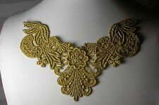 "Venise Lace Yoke Applique 6"" x 4.25"" - Metallic Gold"