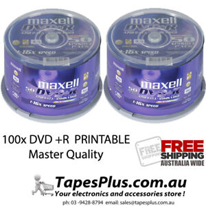 100 pack maxell Gold Series DVD+R -4.7Gb 16X Blank Recordable Discs Spindle 25x4