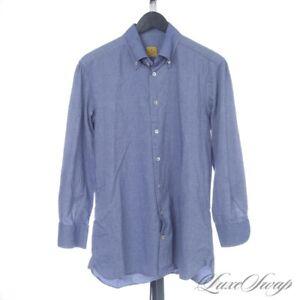 #1 MENSWEAR LNWOT G. Inglese Made in Italy Denim Chambray Blue Shirt 16.5 NR #2