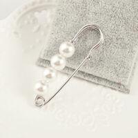 2pcs Large Pearl Safety Pin Sweater Lapel Pin Brooch Skirt Dress Kilt Pin