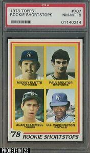 1978 Topps #707 Rookie Shortstops w/ Paul Molitor RC HOF PSA 8 NM-MT