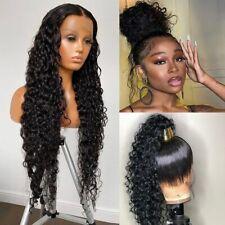 Water Wave Lace Frontal Human Hair Wigs Deep Curly Glueless Virgin Brazilian