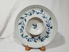 Salmon Falls Stoneware Chip & Dip Round Platter - Berries & Leaves - MINT
