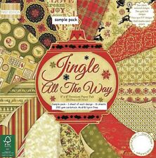 JINGLE ALL THE WAY Dovecraft 8 x 8 Sample Paper Pack 16 Sheets 200gsm Christmas