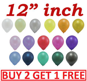 "Helium quality pearl metallic balloon Latex 12"" inch Wedding Birthday party 50pc"
