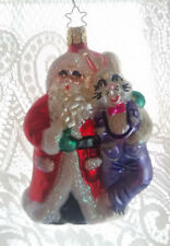 RARE LARGE Inge Glas Santa & Rabbit Easter Bunny German Glass Christmas Ornament