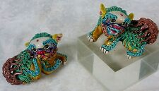 Vtg Chinese Wucai Jiao Zhi Pottery Porcelain Foo Fu Dog Lions Pair of 2 Signed