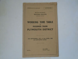 British Railways (W) Working Time Table. Plymouth District. Sec D. 1962 - 1963.