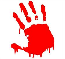 Two(2) Red Bloody Hand Print Car Decal Vinyl Window Wall Sticker Walking Dead