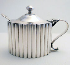 Huge Hamilton & Co. Rare Indian Colonial Solid Silver Mustard Pot India Calcutta