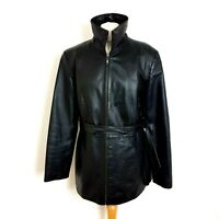Julia S Roma Womens Leather Jacket Vintage 90s UK 16 Black Hip Length Belted