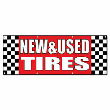 NEW& USED TIRES Auto Body Shop Car Repair Banner Sign 2 ft x 4 ft /w 4 Grommets