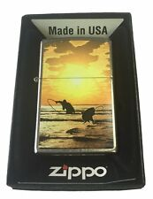 Zippo Custom Lighter GONE FISHING SUNSET SCENE Fly Fishing Street Chrome Gift