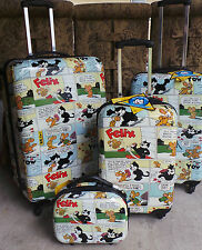 4 Luggage SET NEW Visionair Felix the Cat Comic Book'D 4-piece Hardside Spinner