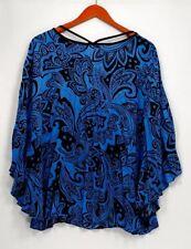 Bob Mackie Women's Top Sz L Floral Printed Blouse Blue A306248