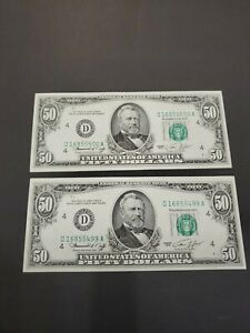 1974 Fifty $50.00 Dollar Federal Reserve Notes 2 Consecutive Sequential UNC