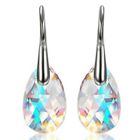 2pcs Drop Dangle Hook Earrings Made with Blue Aurora Borealis Swarovski Crystals