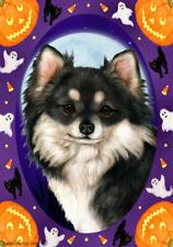 Chihuahua Longhair Black & White Halloween Howls Flag