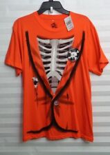 Skeleton Suite Orange Halloween T-Shirt Men's Size Medium (u)