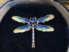 Delightful Vintage style Blue/Green Enamel & Rhinestone Dragonfly Insect Brooch