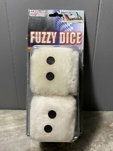White Car Dice Fuzzy Soft Mirror Hanging Hung Large Big Old School Good Luck