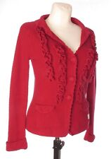 ODD MOLLY Women's Red Chunky Knit Long Sleeve Button Cardigan V Neck sz 1 Ruffle