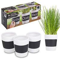 3 x Ceramic Herb Plant Pots + Chalk Board Home Kitchen Garden Planters Plantpots
