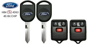 2 Ford S H84 40 BIT Transponder Chip Key + 3 Button Remote A+++ USA Seller
