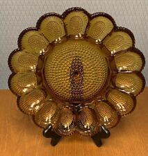 Vintage Amber Indiana Hobnail Deviled Egg Tray Plate Eggs Server Vibrant Color