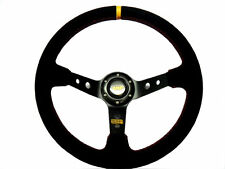 "350MM RALLY 4"" DEEP DISH BLACK SUEDE RED STITCH STEERING WHEEL FREE UPS SHIP"