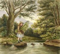 G.P., Girl on Stepping Stones – Original c.1880s watercolour painting