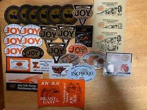 "LOT OF 31 JOY MINING EQUIPMENT CO -HARD HAT-COAL MINING STICKERS-DECALS ""NICE"""
