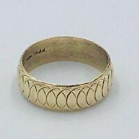 Solid 9ct Gold 7mm Circle Pattern Wedding Ring Band Sz U #440