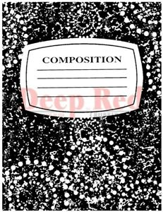 Deep Red Stamps Notebook Composition Cover Rubber Cling Stamp