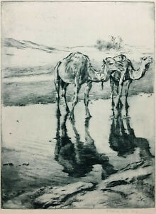 FRIED PAL Hand Signed ~ RARE EARLY ETCHING ~ c.1925 CAMELS, NORTH AFRICA
