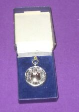 ANTIQUE BIRMINGHAM 1932 SOLID STERLING SILVER & ROSE GOLD WATCH CHAIN FOB BOXED