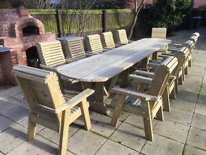 Large Wooden Table In Garden & Patio Furniture Sets For Sale | EBay