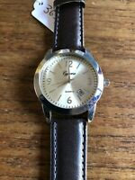 Mens CYPREA Larged Faced SS Watch with Leather Straps W365/7