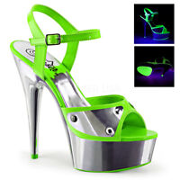Pleaser DELIGHT-609NC Neon Green Silver Chrome Platform Ankle Strap Sandal Heels